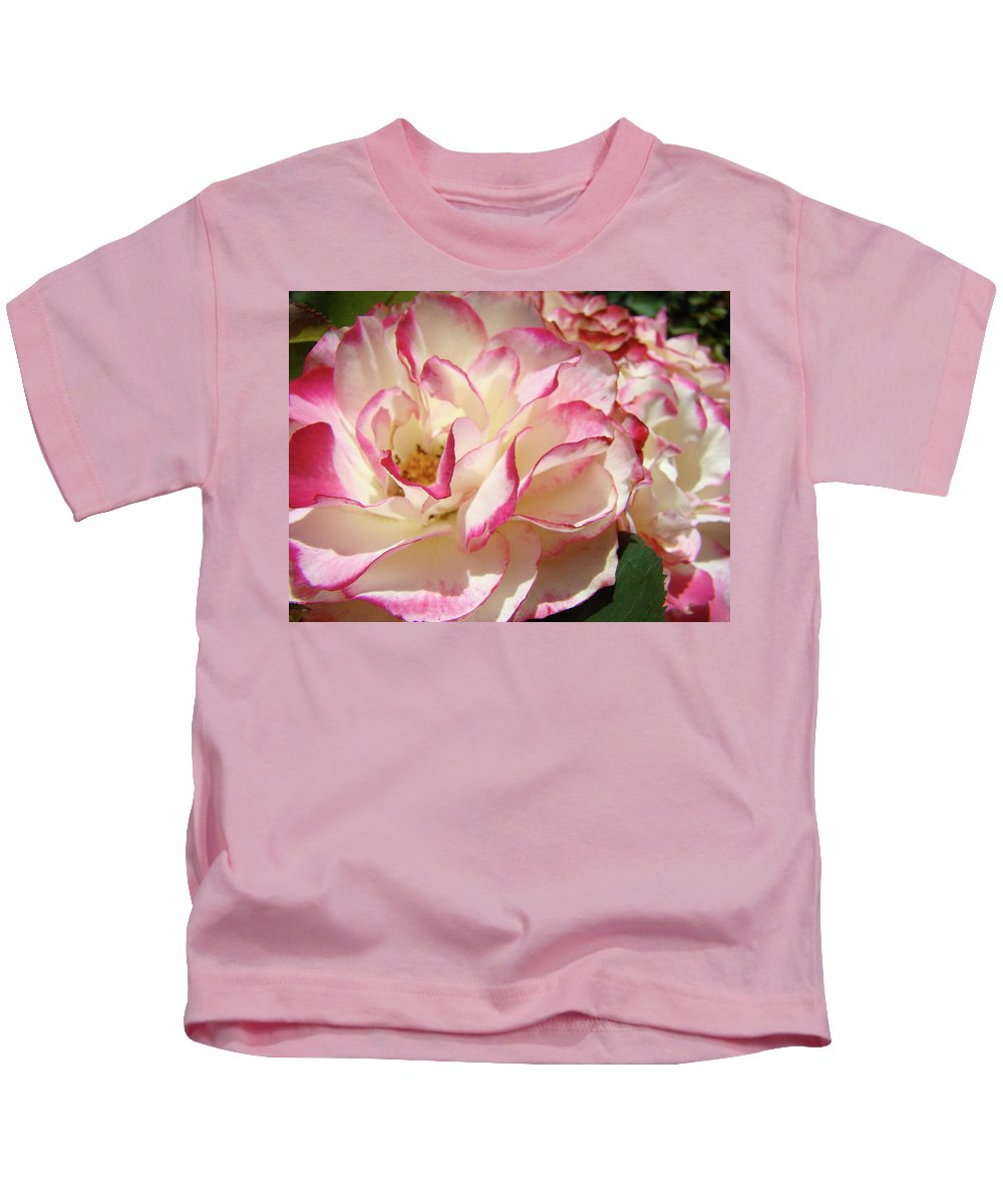 Rose Kids T-Shirt featuring the photograph Roses Pink White Rose Flowers 4 Rose Garden Artwork Baslee Troutman by Baslee Troutman