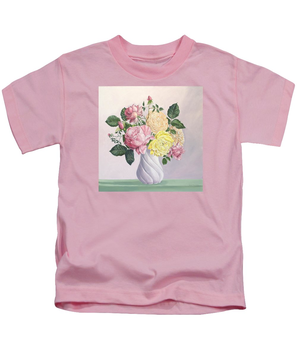 Gold Poster Kids T-Shirt featuring the painting Roses to Remember by Wanda Dansereau
