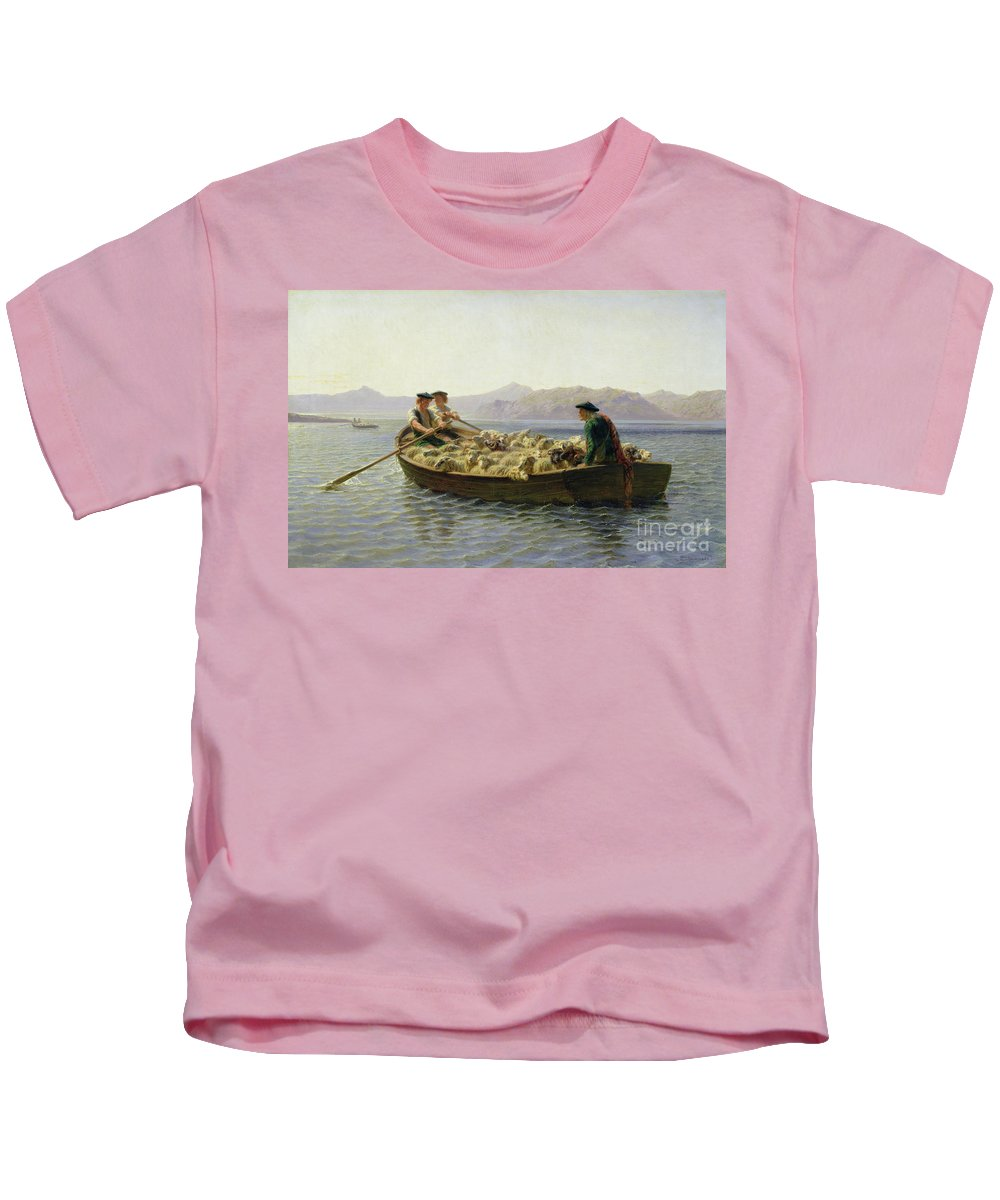 Rowing-boat Kids T-Shirt featuring the painting Rowing Boat by Rosa Bonheur