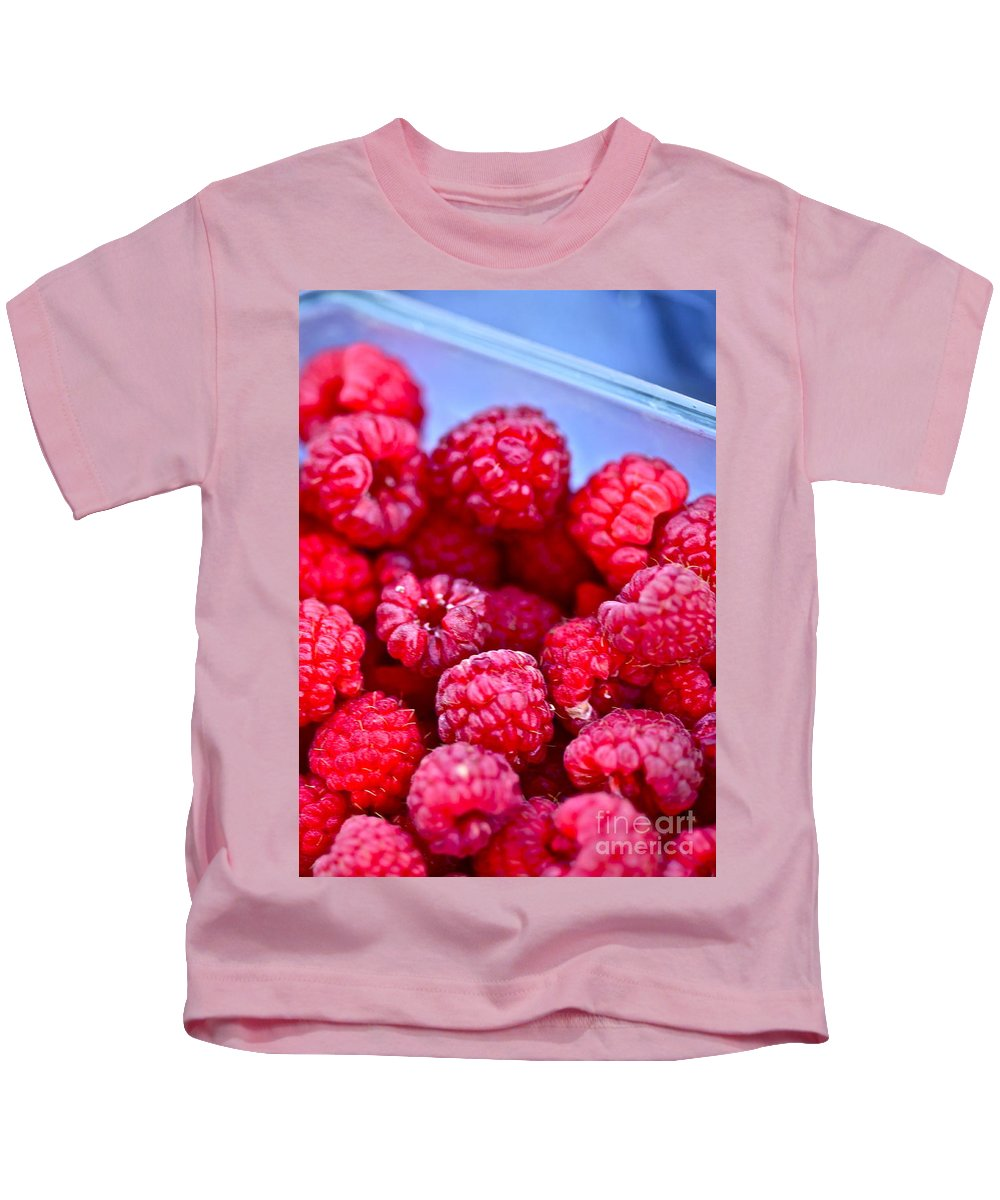 Red Kids T-Shirt featuring the photograph Ruby Raspberries by Nadine Rippelmeyer