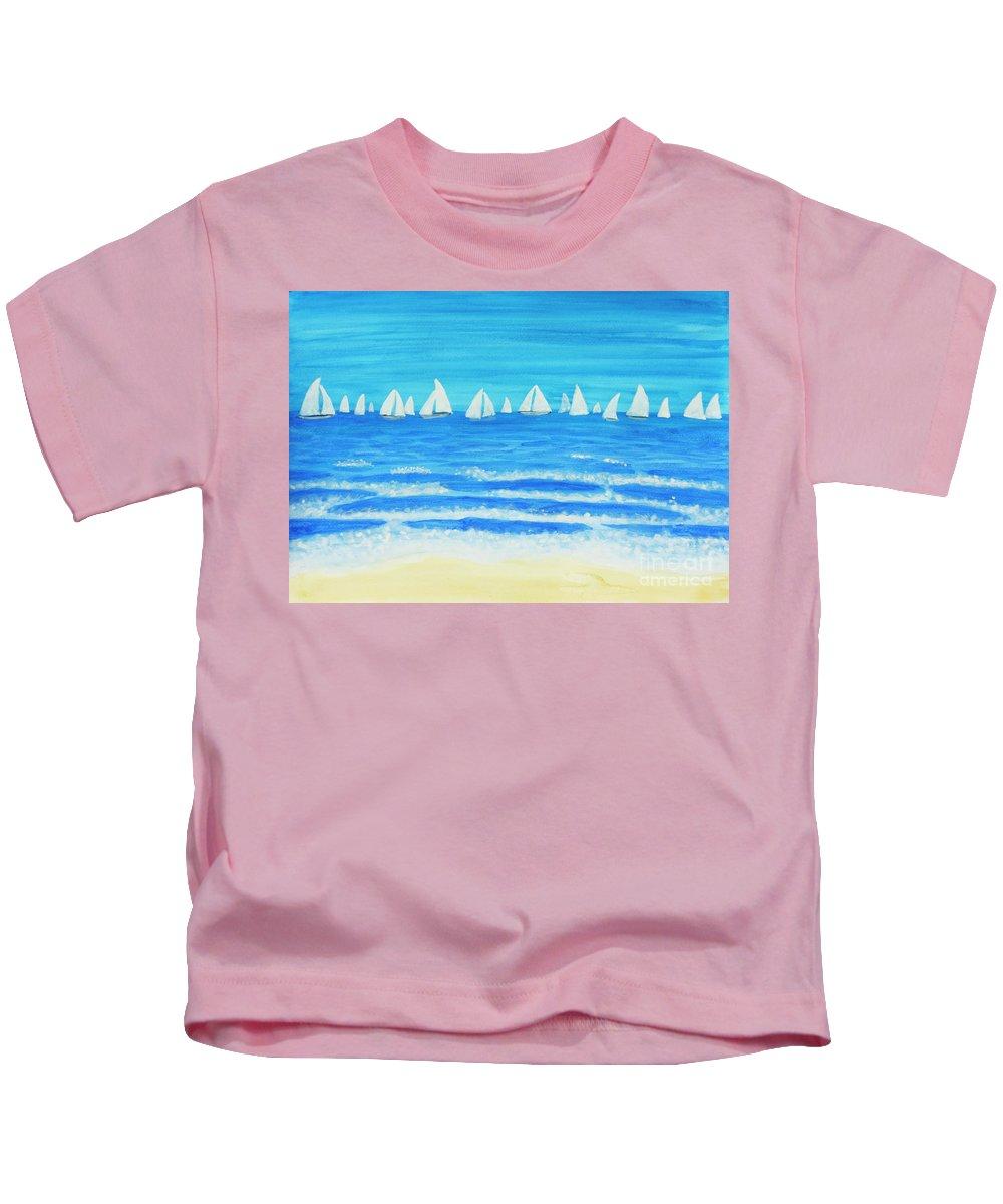 Sea Kids T-Shirt featuring the painting Sailing Regatta White by Irina Afonskaya