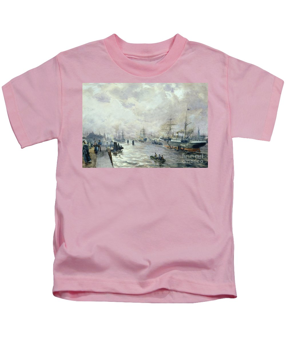 Sailing Kids T-Shirt featuring the painting Sailing Ships In The Port Of Hamburg by Carl Rodeck