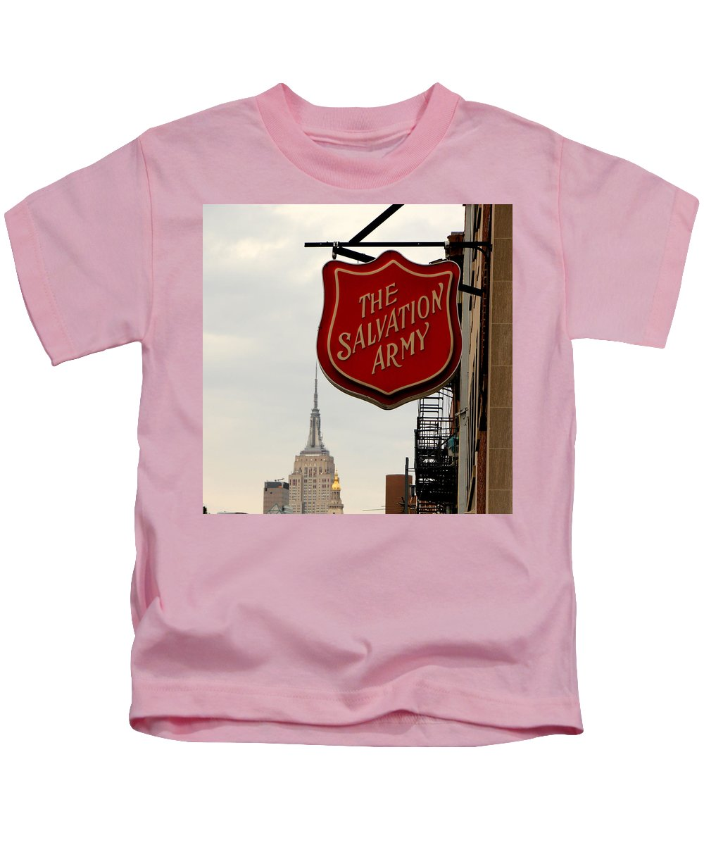 Salvation Army Kids T-Shirt featuring the photograph Salvation Army New York by Andrew Fare