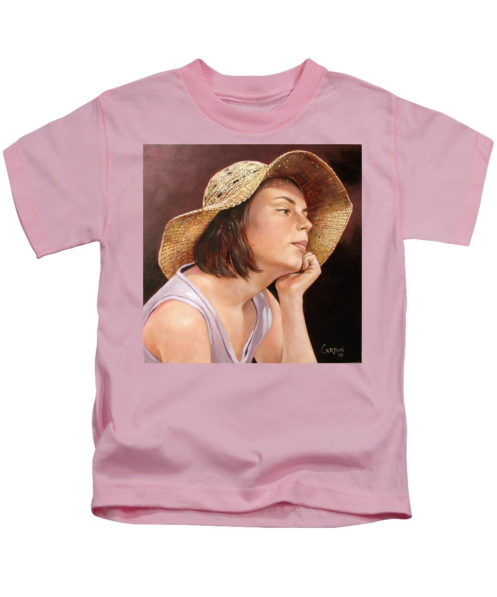 Portrait Kids T-Shirt featuring the painting Sammie by Jerrold Carton