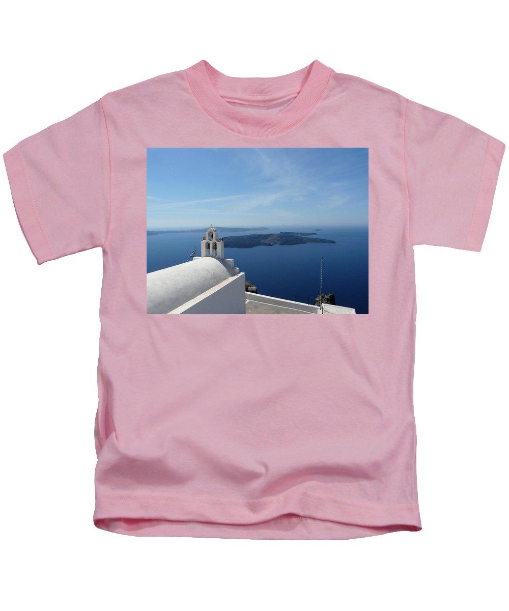 Landscape Kids T-Shirt featuring the photograph Santorini Greece by Valerie Ornstein