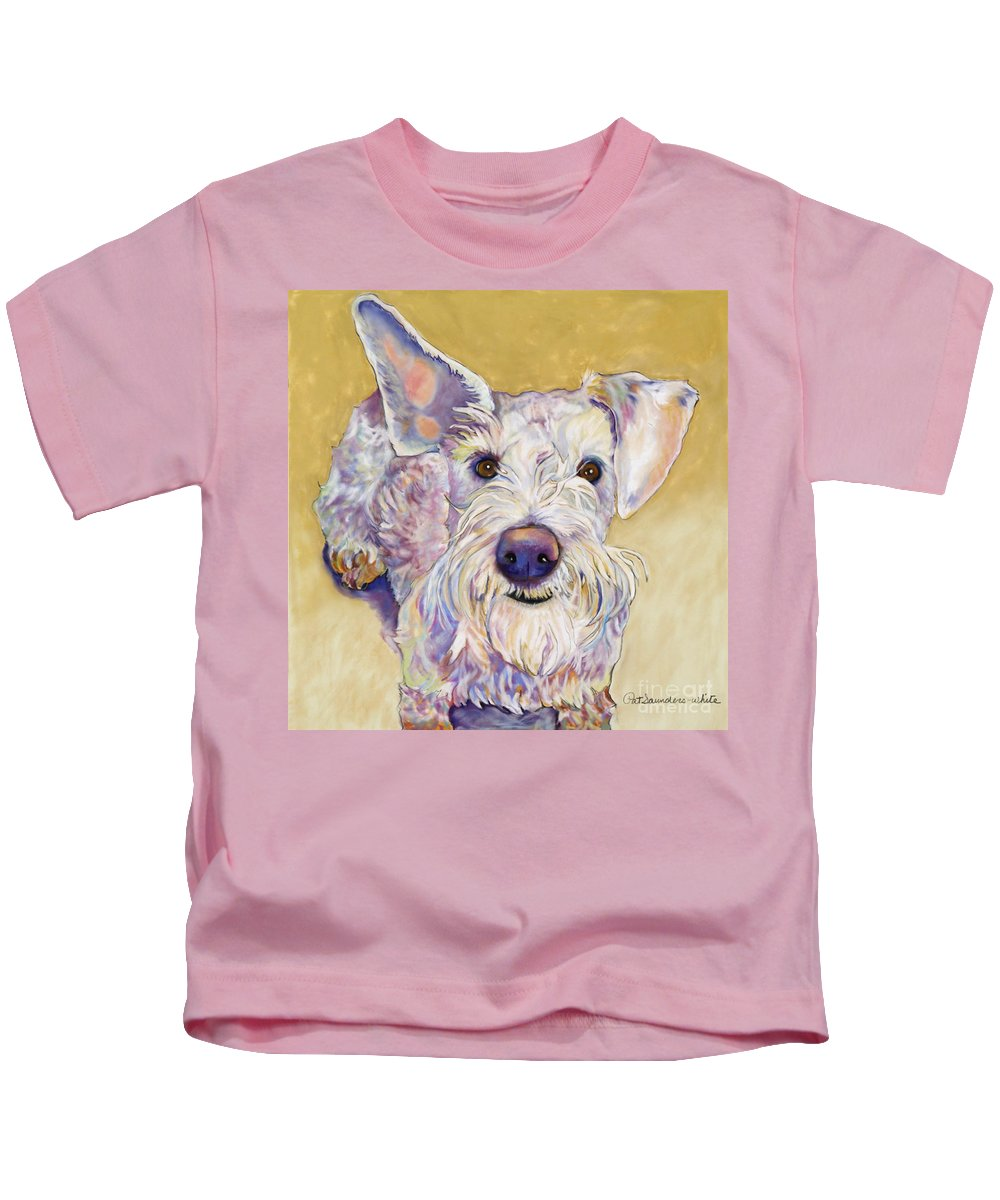 Schnauzer Kids T-Shirt featuring the pastel Scooter by Pat Saunders-White