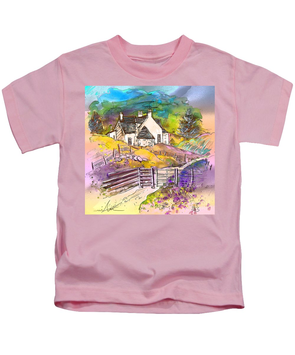 Scotland Paintings Kids T-Shirt featuring the painting Scotland 16 by Miki De Goodaboom