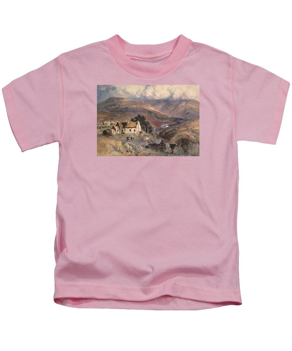 Scottish Landscape Kids T-Shirt featuring the painting Scottish Landscape by Sir Joseph Noel Paton