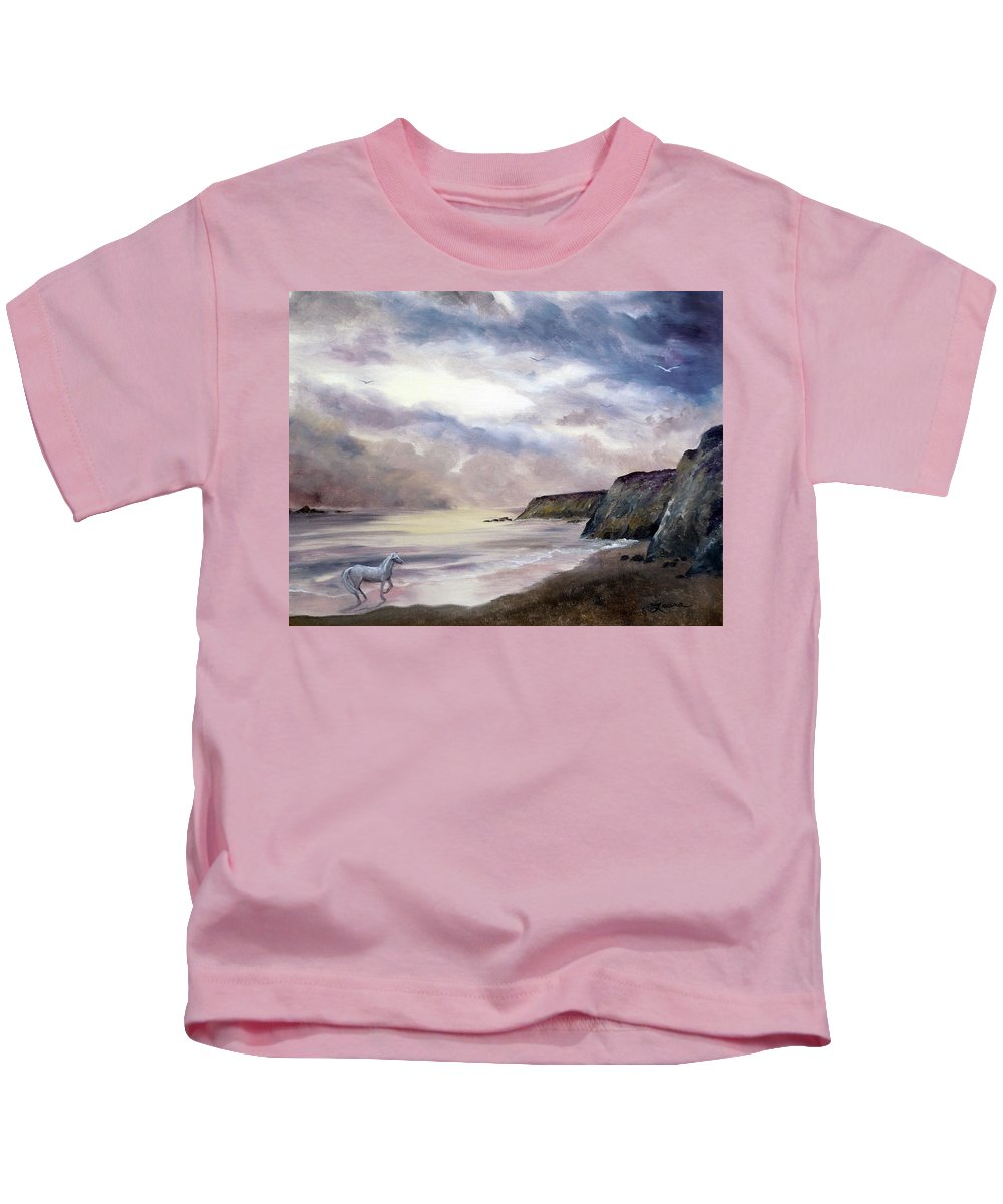 Horse Kids T-Shirt featuring the painting Sea Dancer by Laura Iverson