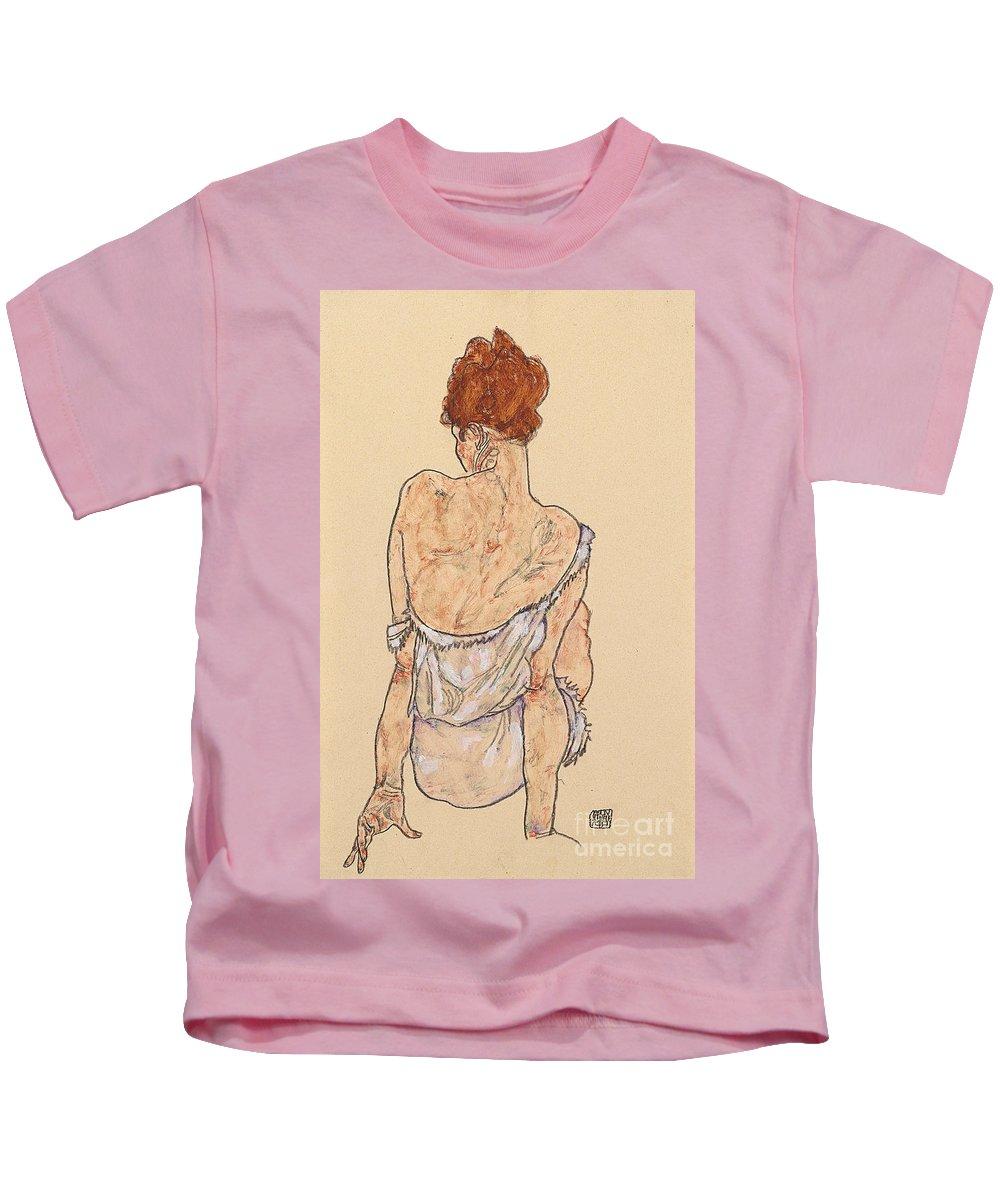 Seated Woman In Underwear Kids T-Shirt featuring the drawing Seated Woman In Underwear by Egon Schiele