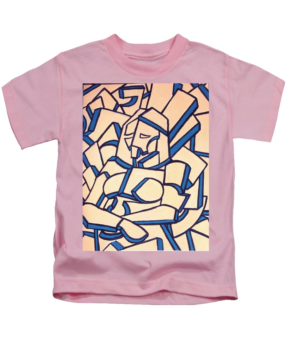 Girl Kids T-Shirt featuring the painting Seated Women by Thomas Valentine