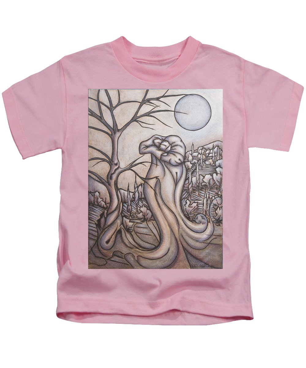 Dream. Moon Kids T-Shirt featuring the painting Secrets And Dreams by Judy Henninger