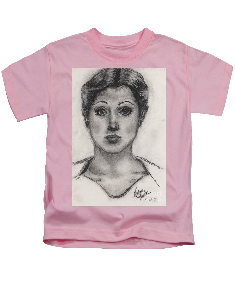 Nadine Kids T-Shirt featuring the drawing Self Portrait At Age 18 by Nadine Rippelmeyer