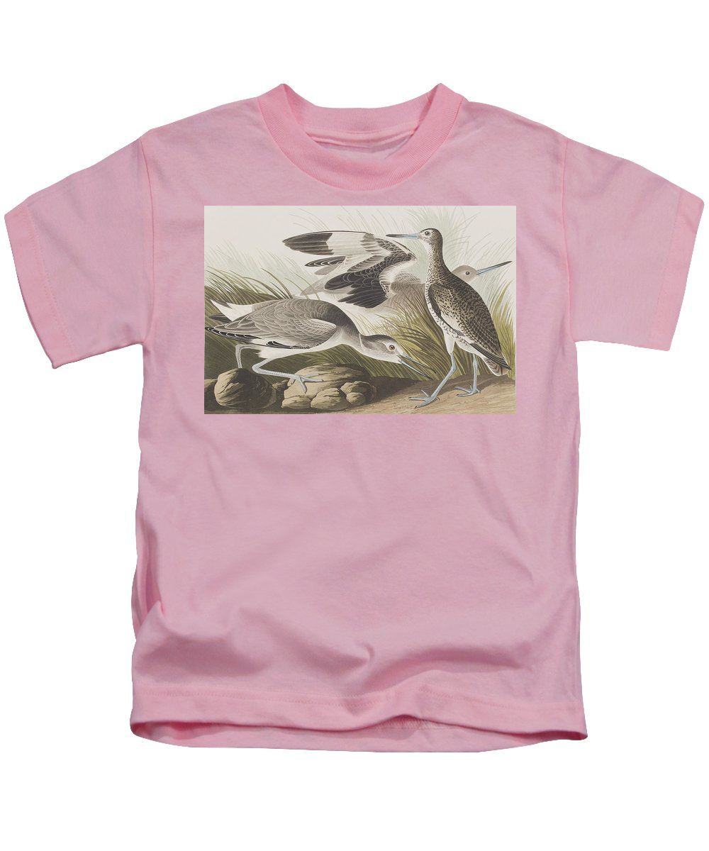 Audubon Kids T-Shirt featuring the painting Semipalmated Snipe Or Willet by John James Audubon
