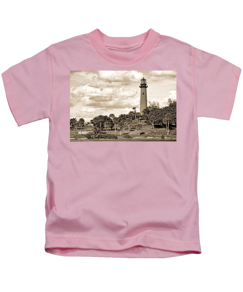 Beacon Kids T-Shirt featuring the photograph Sepia Lighthouse by Rudy Umans