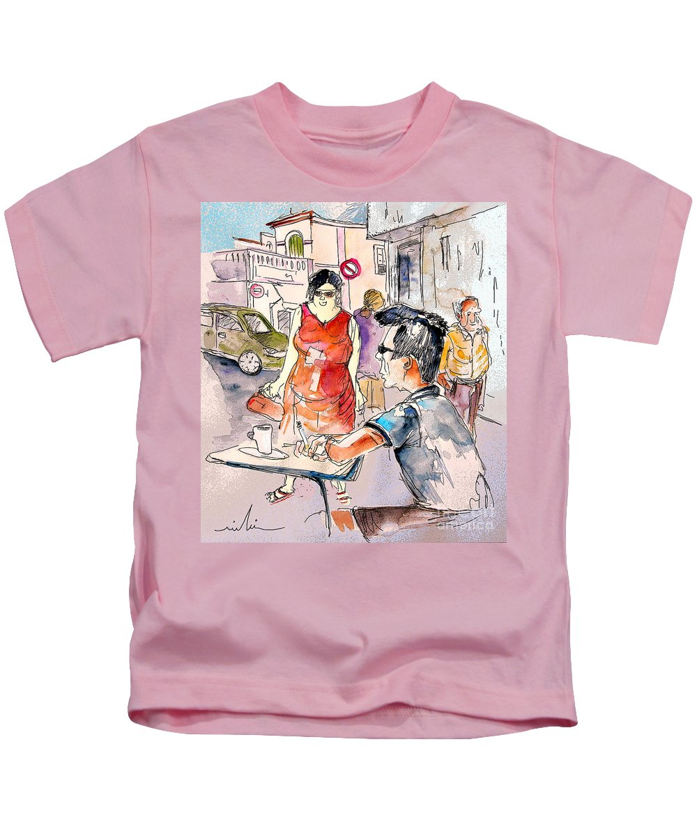 Portugal Paintings Kids T-Shirt featuring the painting Serpa Portugal 16 by Miki De Goodaboom