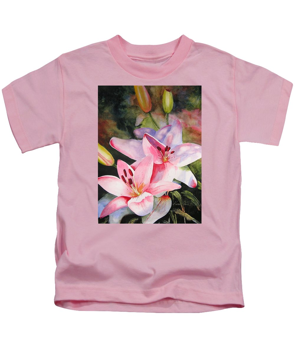 Lilies Kids T-Shirt featuring the painting Shady Ladies by Karen Stark