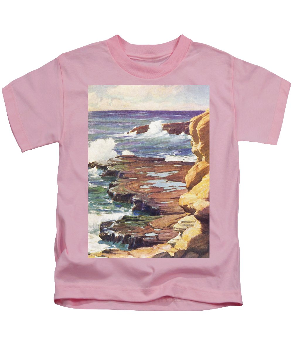 1936 Kids T-Shirt featuring the painting Sharp Rocky Coastline by Hawaiian Legacy Archive - Printscapes