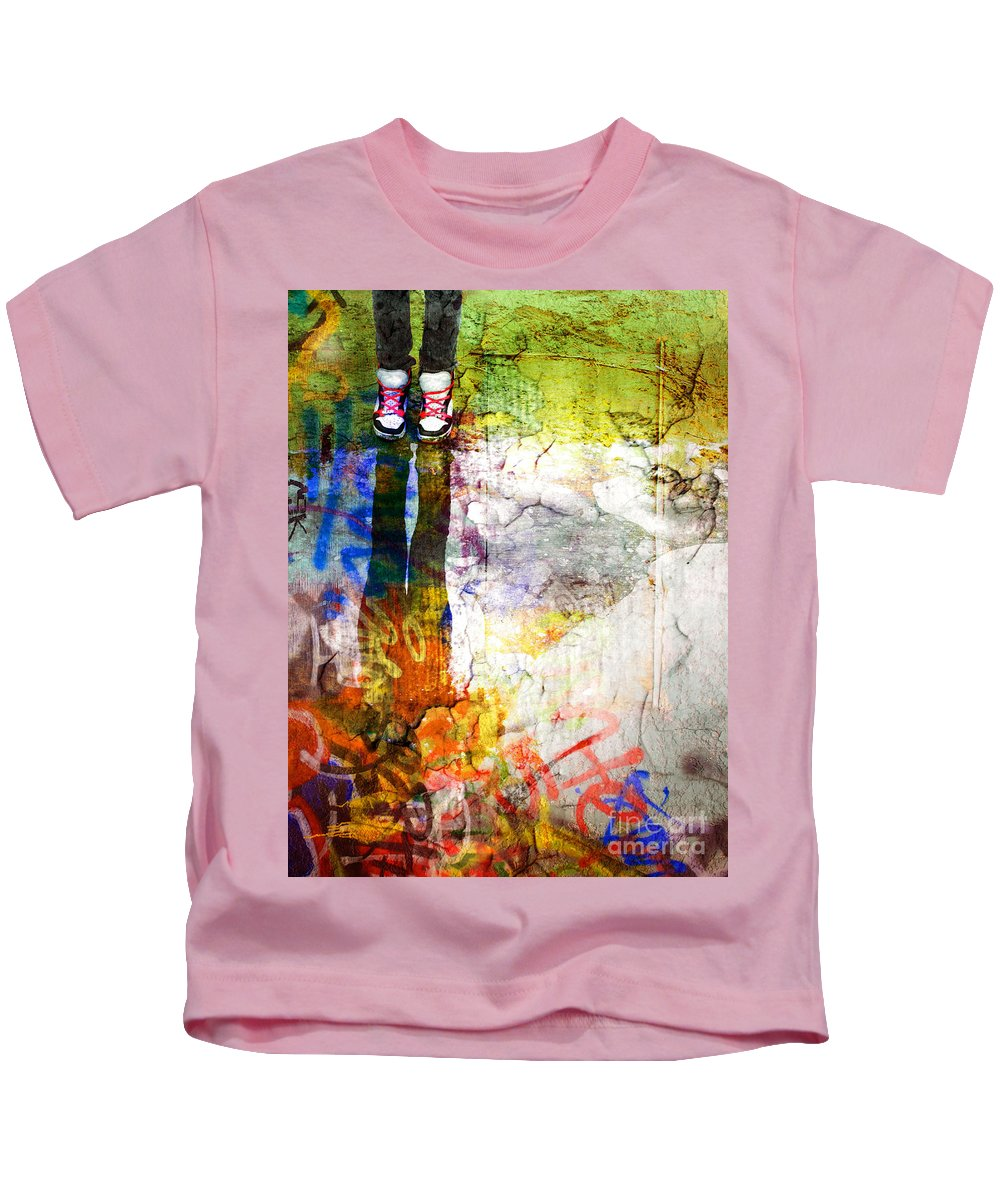 Shoes Kids T-Shirt featuring the photograph She Lives In A Box Of Paint by Tara Turner