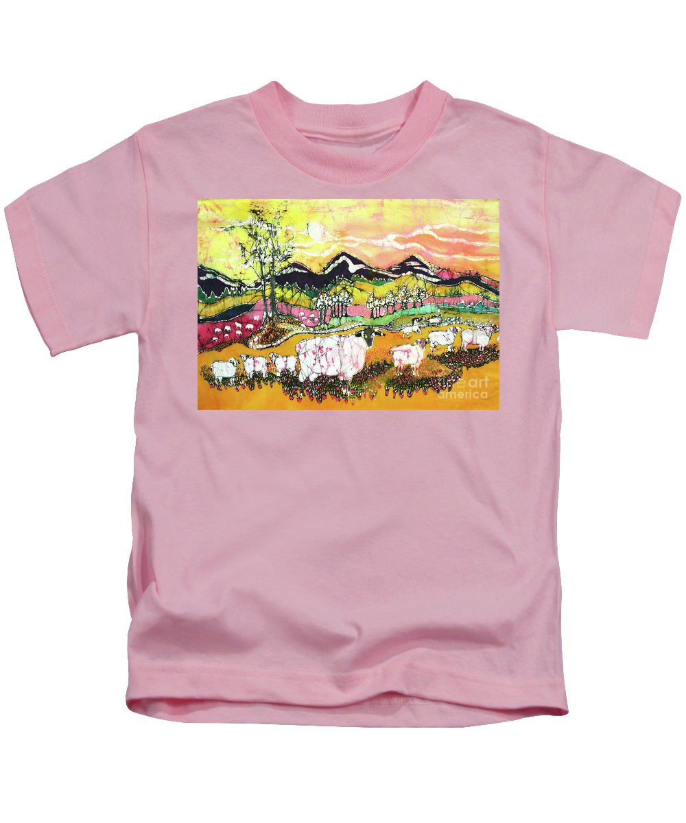 Sheep Kids T-Shirt featuring the tapestry - textile Sheep On Sunny Summer Day by Carol Law Conklin
