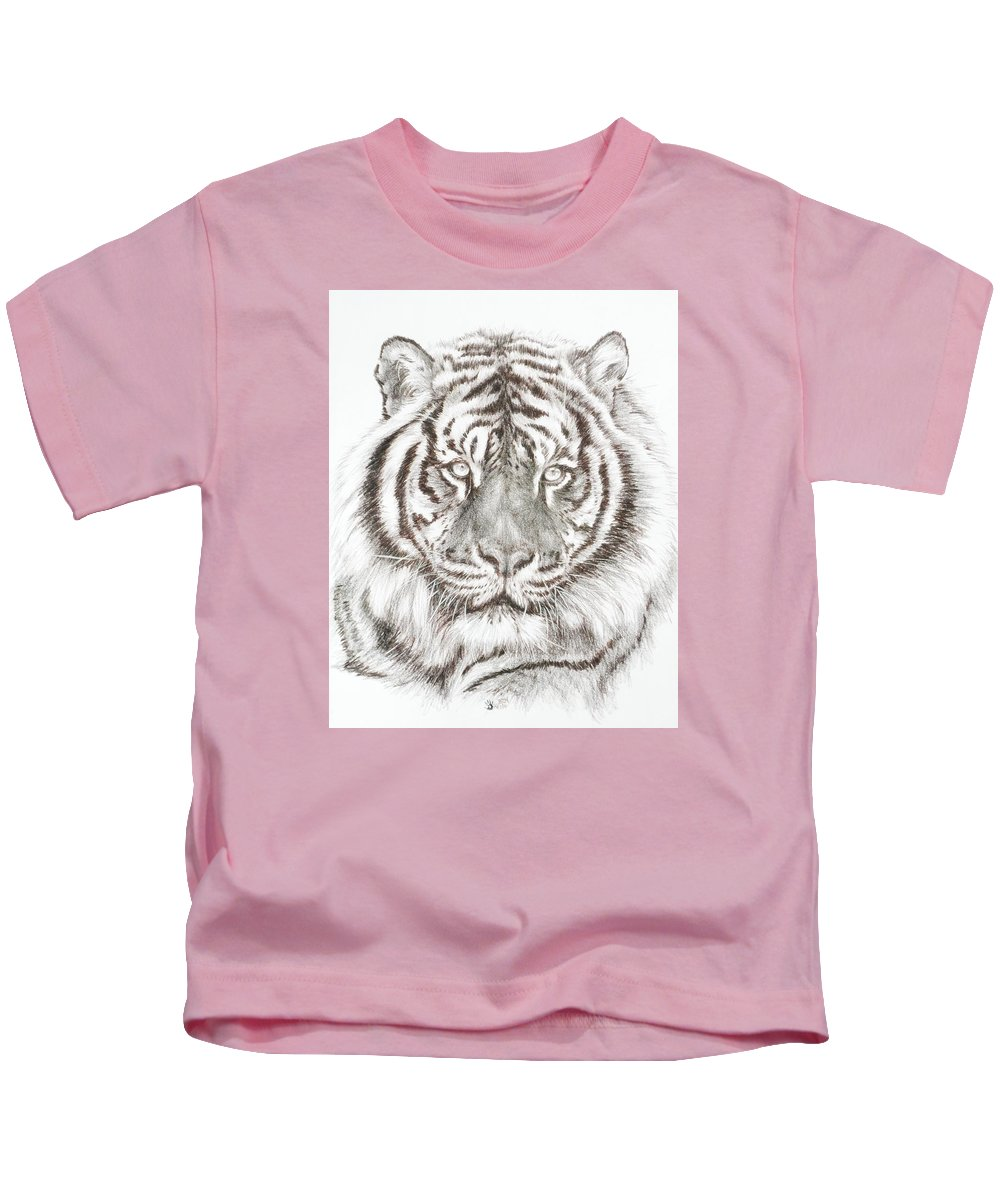 Big Cat Kids T-Shirt featuring the drawing Shimmer by Barbara Keith