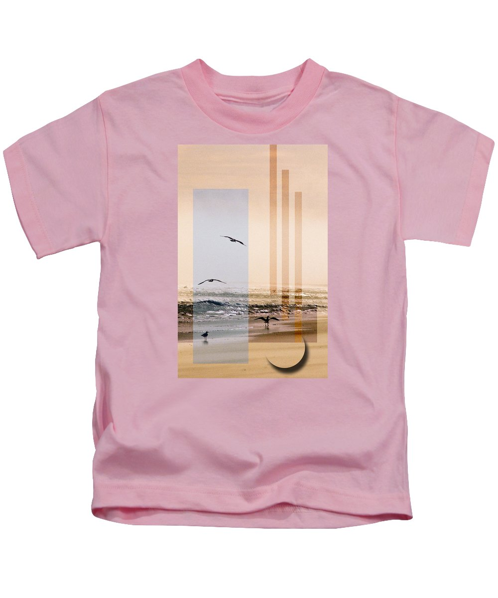 Abstract Kids T-Shirt featuring the photograph Shore Collage by Steve Karol