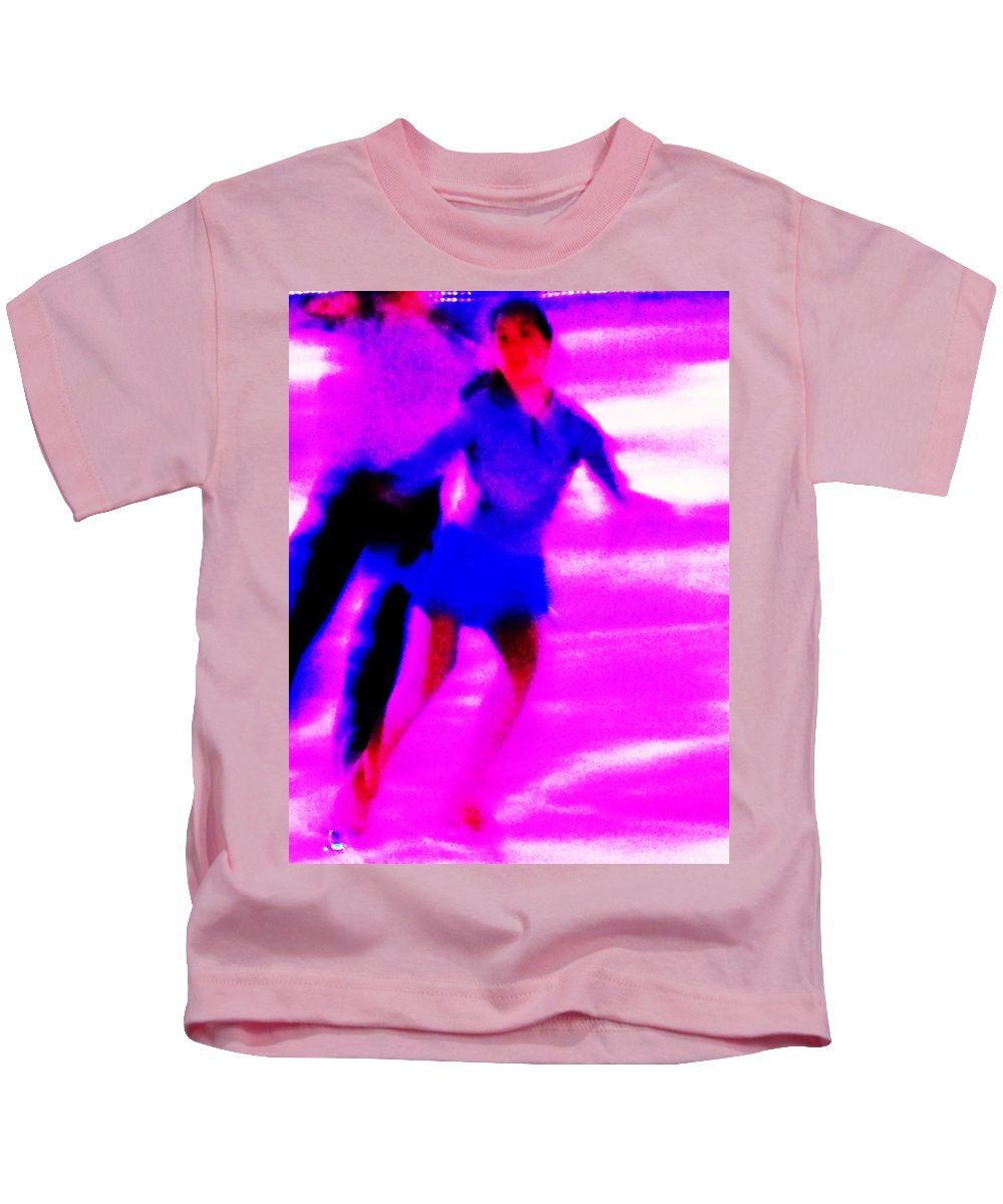 Skating Couple Kids T-Shirt featuring the painting Skating Couple Abstract by Eric Schiabor
