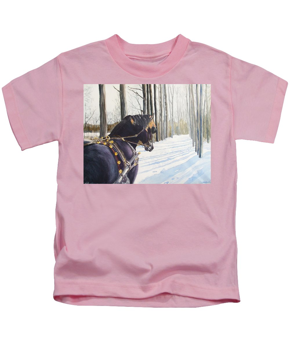 Horse Kids T-Shirt featuring the painting Sleigh Bells by Ally Benbrook