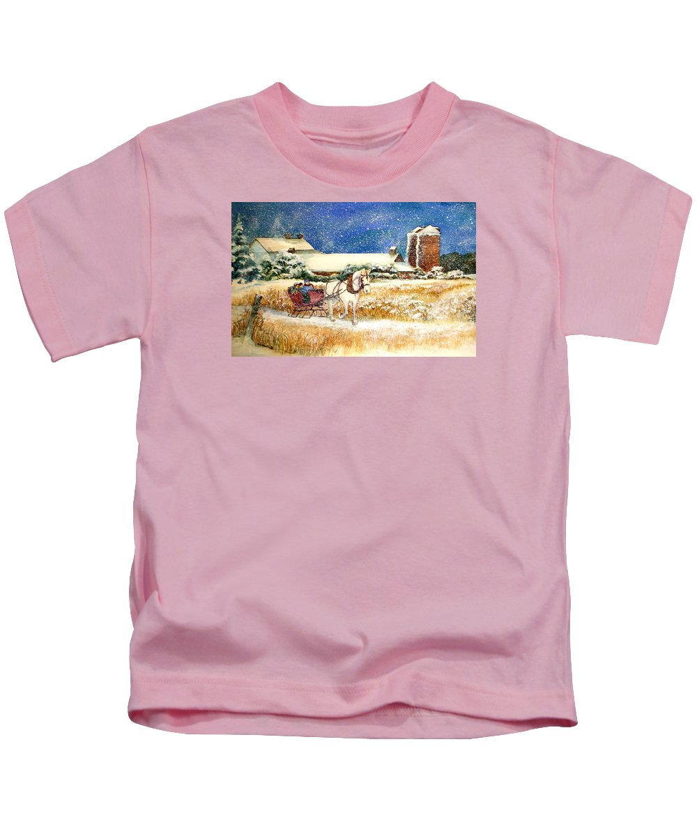 Watercolor;sleigh;horse;barn;silos;winter;snow;sleigh Ride;christmas; Kids T-Shirt featuring the painting Sleigh Ride At Brickers by Lois Mountz