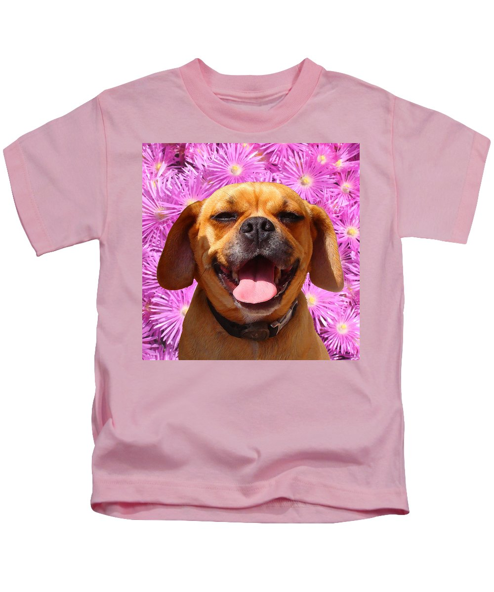 Animal Kids T-Shirt featuring the painting Smiling Pug by Amy Vangsgard
