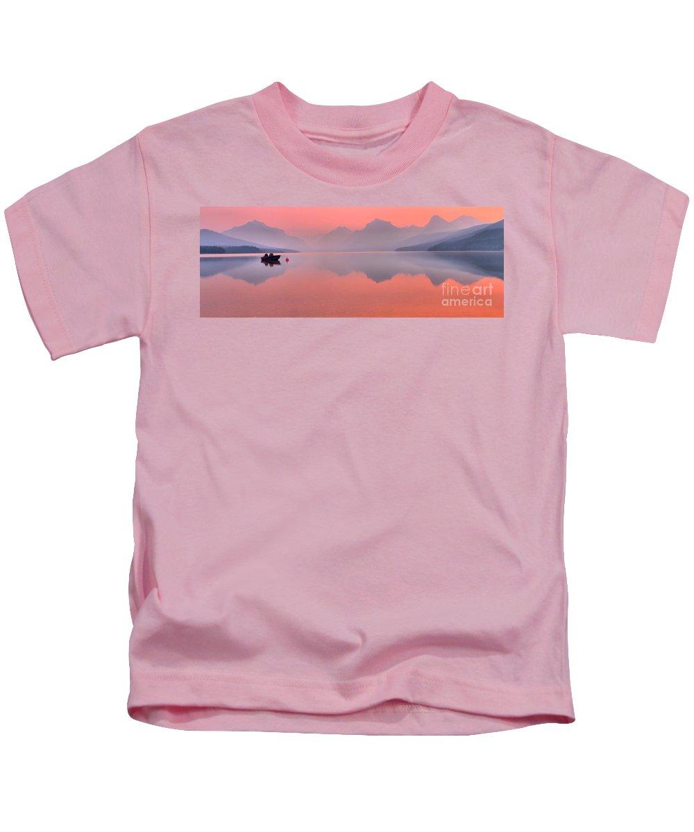 Lake Mcdonald Kids T-Shirt featuring the photograph Smokey Pink Over Lake Mcdonald by Adam Jewell