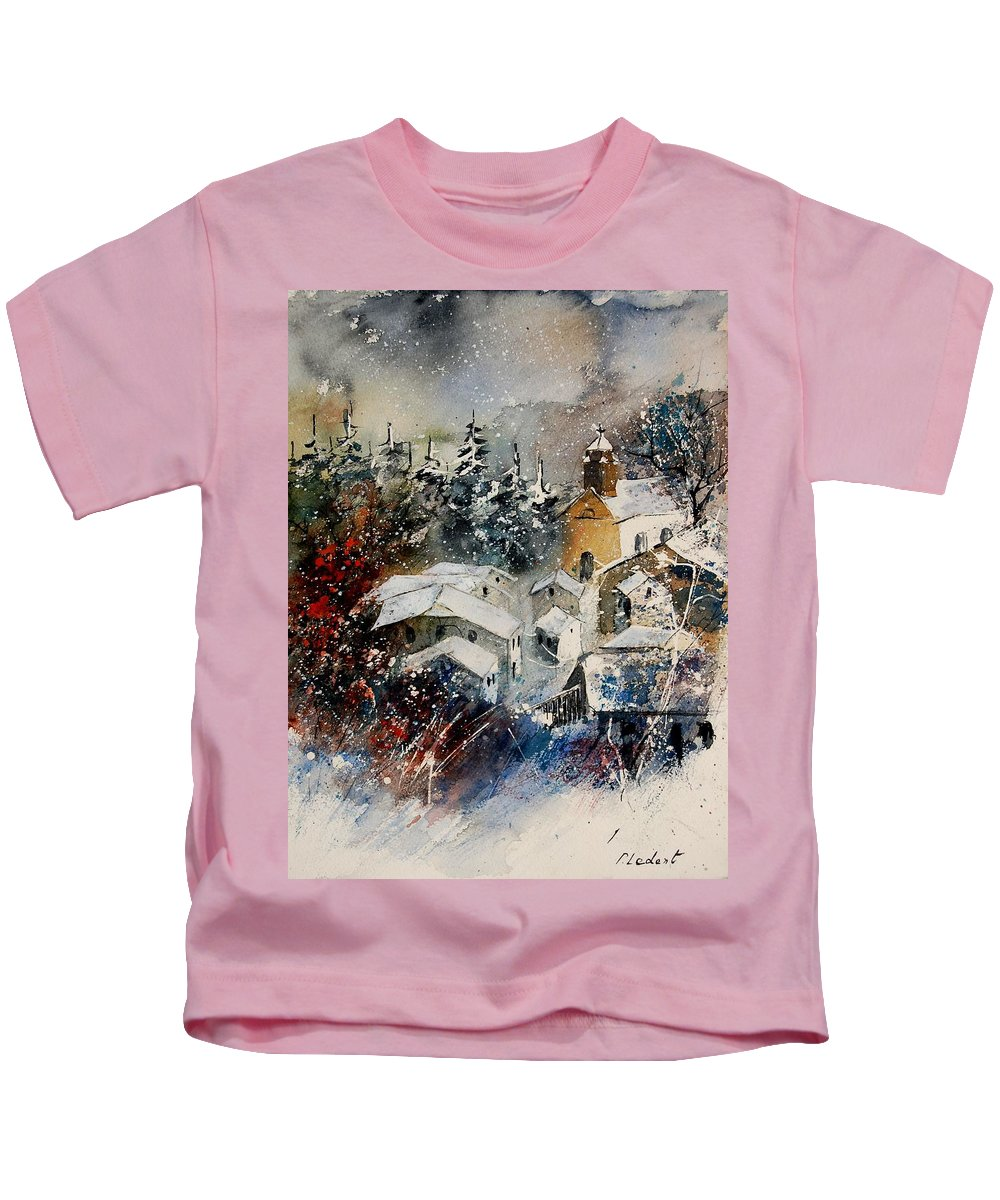 Landscape Kids T-Shirt featuring the painting Snon In Frahan by Pol Ledent