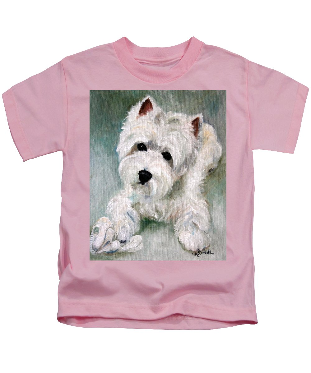 Art Kids T-Shirt featuring the painting Socks by Mary Sparrow