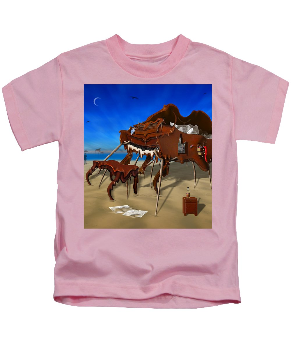 Surrealism Kids T-Shirt featuring the photograph Soft Grand Piano Man by Mike McGlothlen