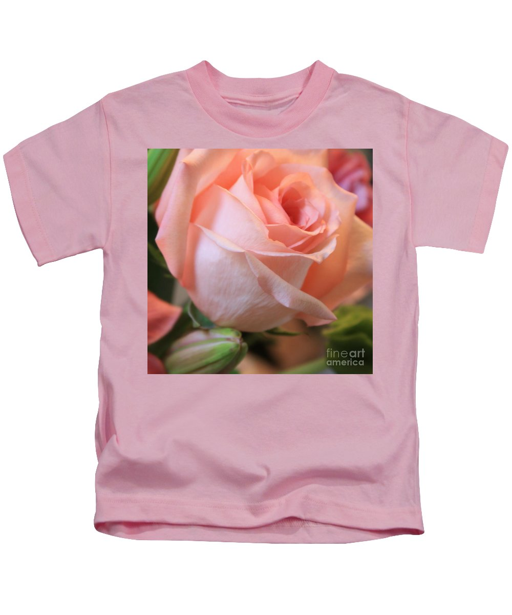 Pink Rose Kids T-Shirt featuring the photograph Soft Pink Rose by Carol Groenen