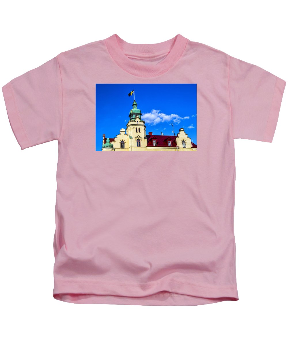 Kalmar Kids T-Shirt featuring the photograph Spires Of Kalmar by Roberta Bragan