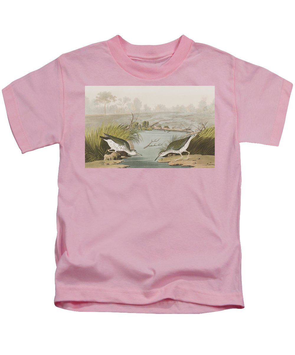 Sandpiper Kids T-Shirt featuring the painting Spotted Sandpiper by John James Audubon