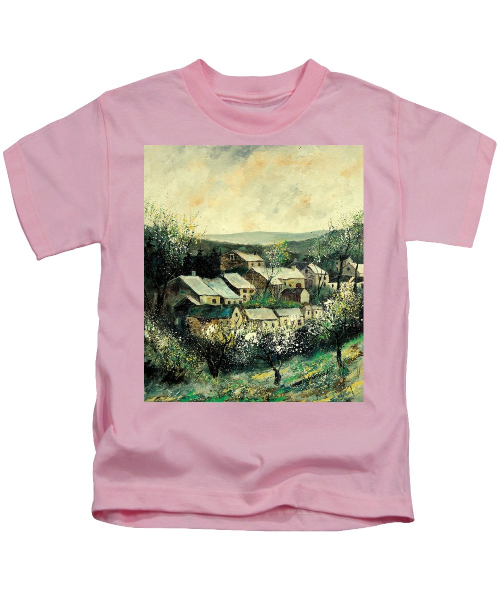 Spring Kids T-Shirt featuring the painting Spring In The Ardennes Belgium by Pol Ledent