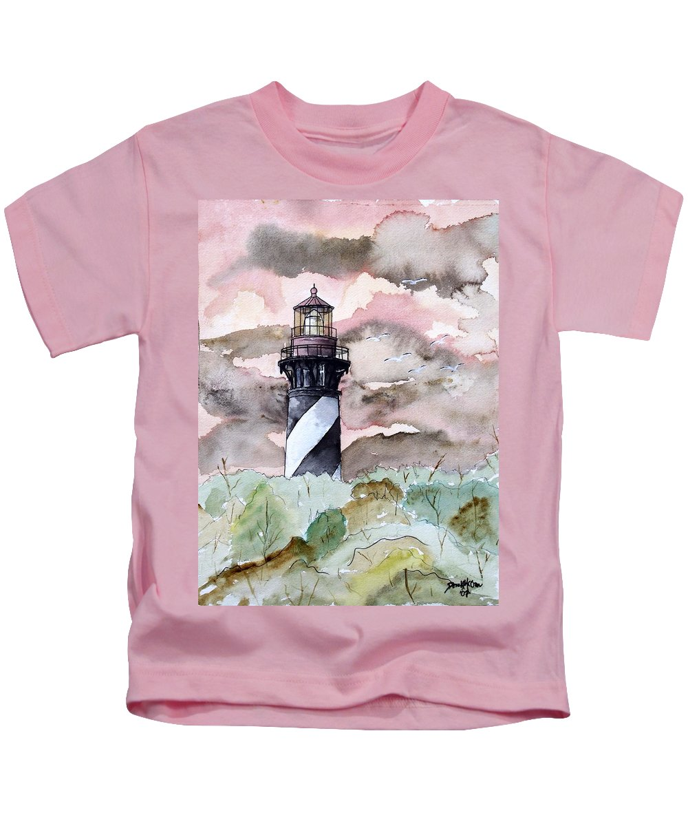 Lighthouse Kids T-Shirt featuring the painting St Augustine Lighthouse by Derek Mccrea