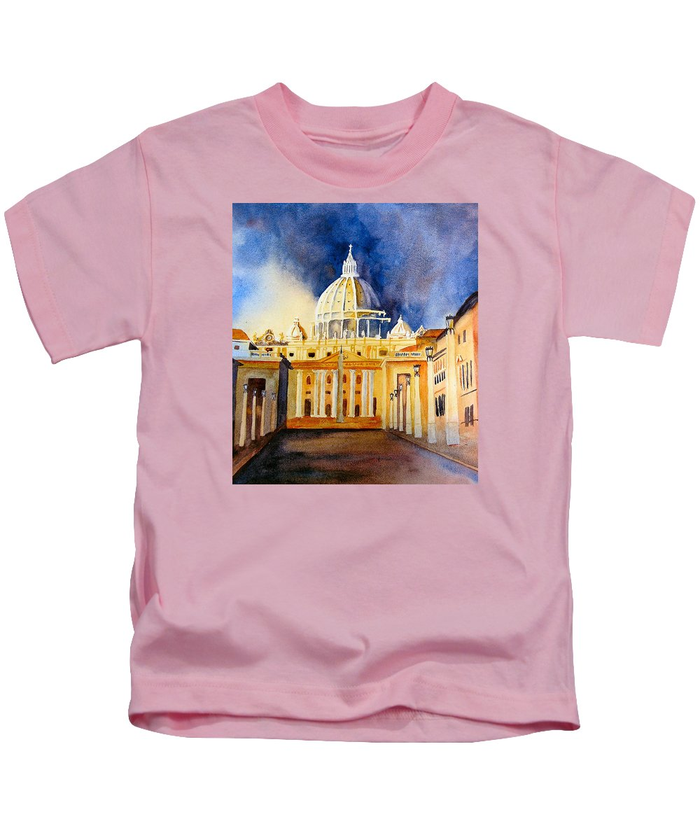 Vatican Kids T-Shirt featuring the painting St. Peters Basilica by Karen Stark