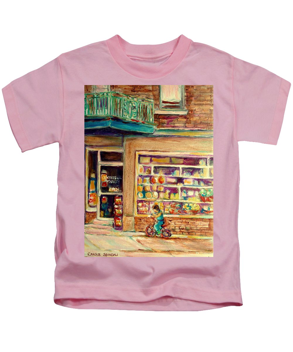 Montreal Kids T-Shirt featuring the painting St Viateur Street Montreal by Carole Spandau