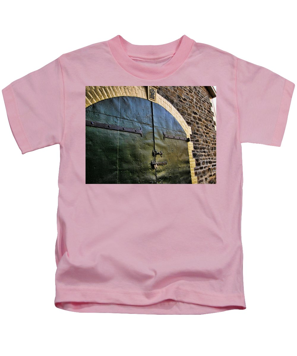 Winery Kids T-Shirt featuring the photograph Steel Doors by Douglas Barnard