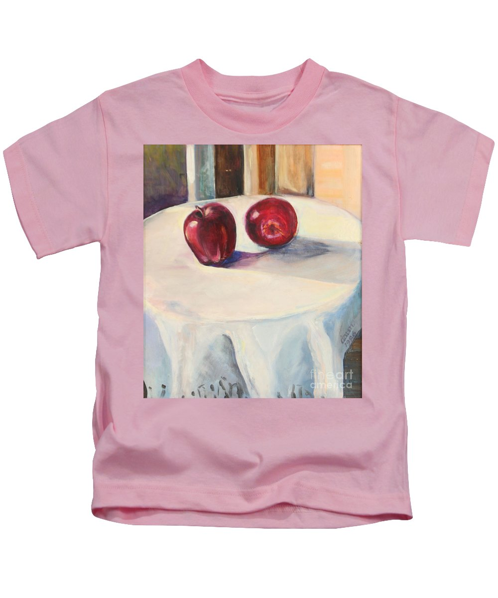 Oil Painting Kids T-Shirt featuring the painting Still Life With Apples by Daun Soden-Greene