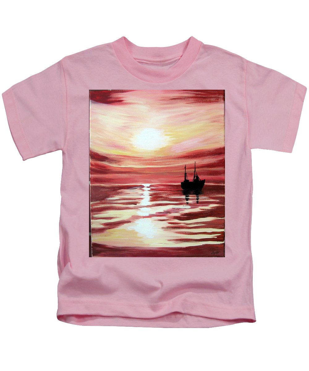 Seascape Kids T-Shirt featuring the painting Still Waters Run Deep by Marco Morales