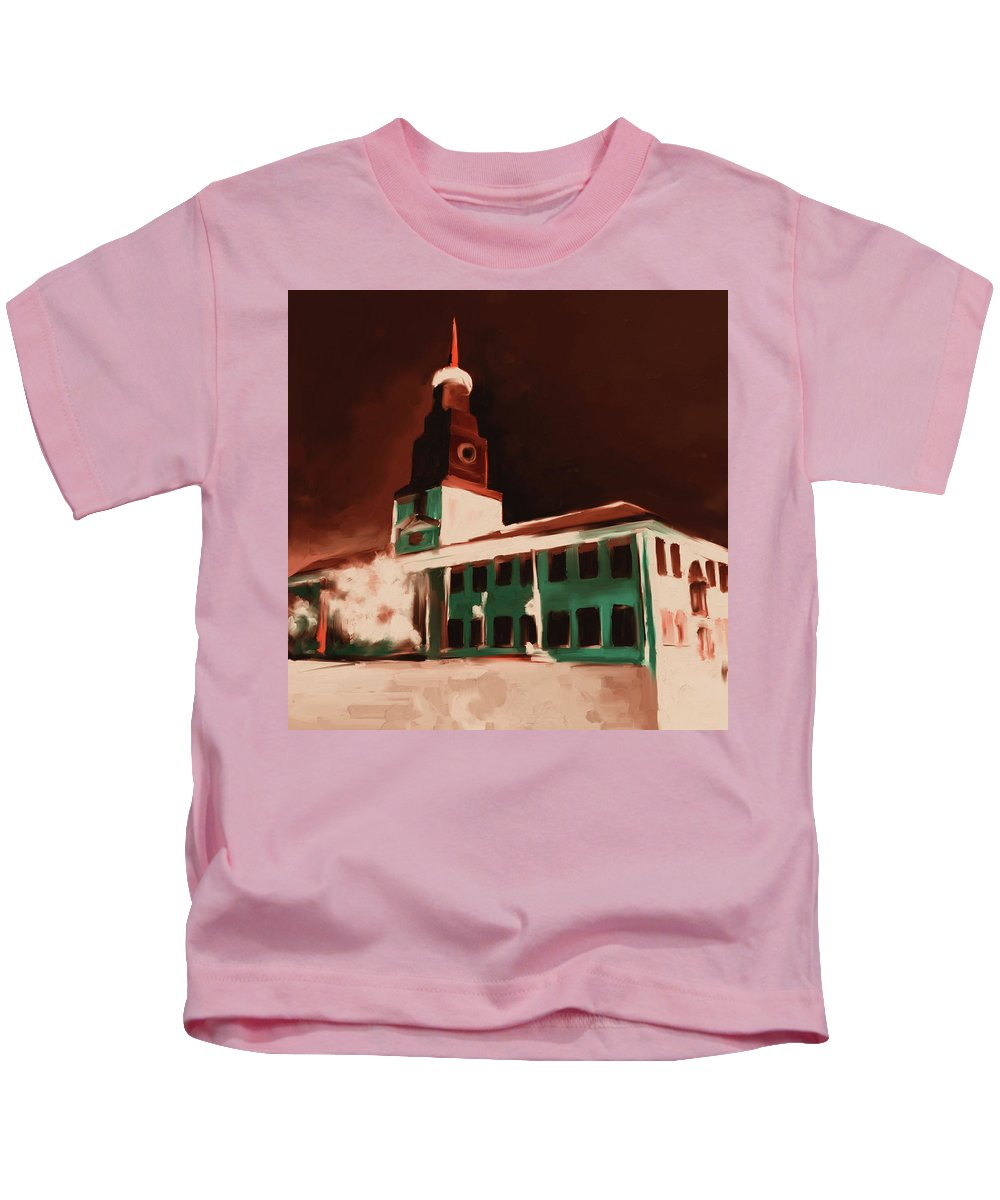 Chicago Kids T-Shirt featuring the painting Stock Yards National Bank 537 3 by Mawra Tahreem