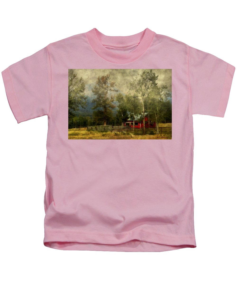 Landscape Kids T-Shirt featuring the painting Storm Approaching White Birch Cottage by RC DeWinter