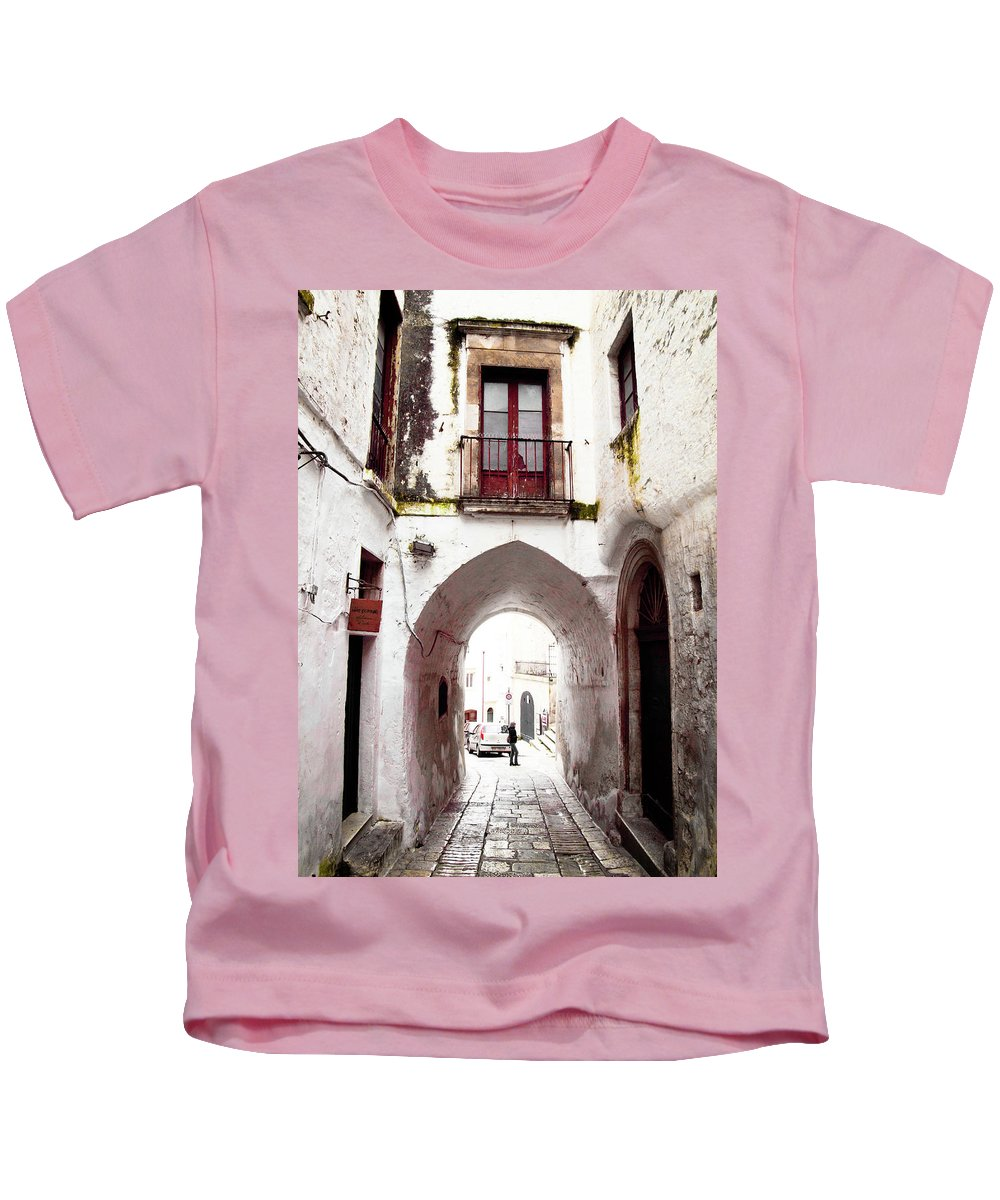 Architecture Kids T-Shirt featuring the photograph Streets Of Ostuni by Steven Myers
