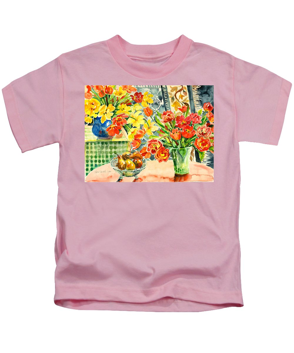 Watercolor Kids T-Shirt featuring the painting Studio Still Life by Ingrid Dohm