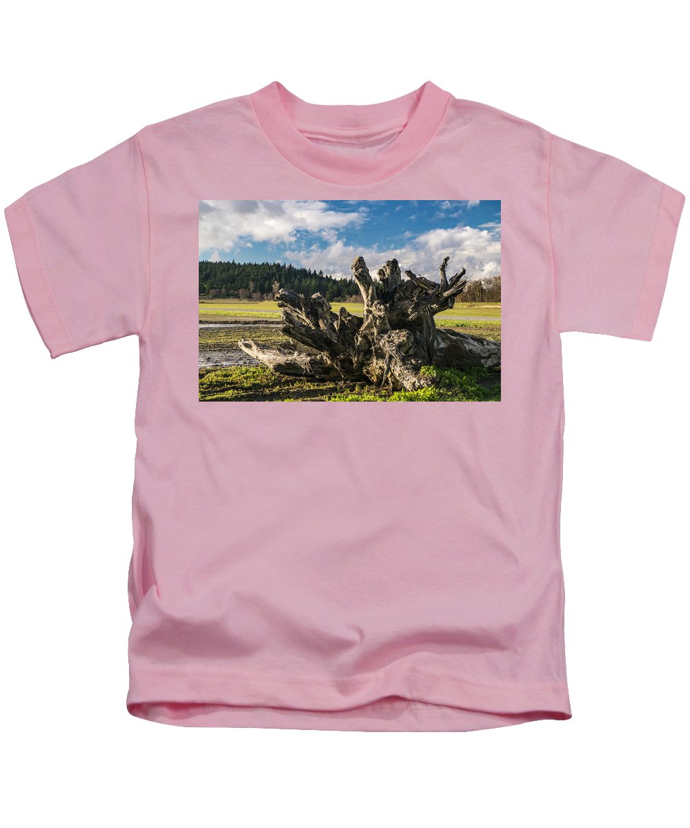 Stumps Kids T-Shirt featuring the photograph Stump In Field by Stephen Coletta