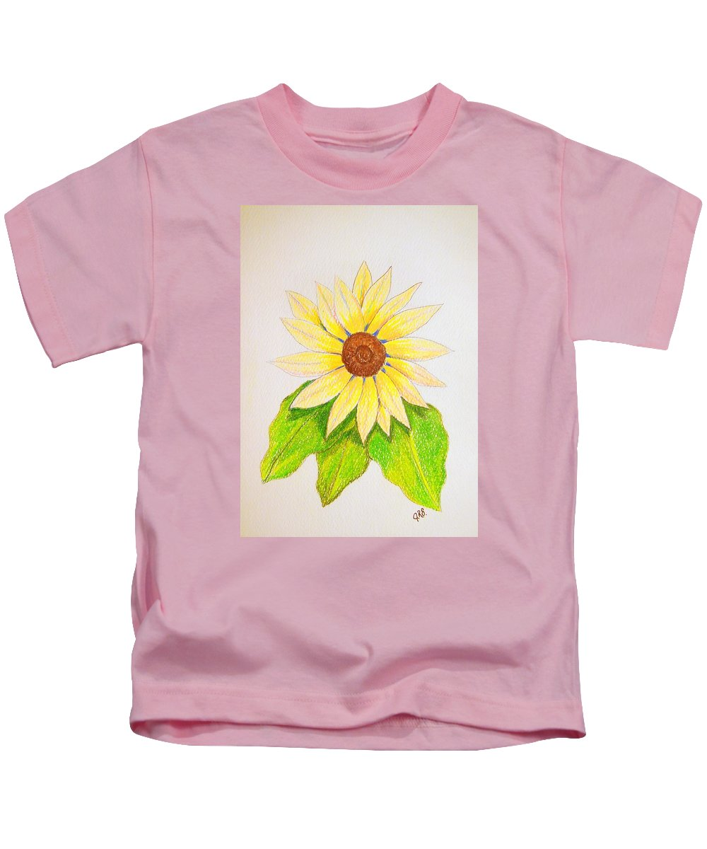 Stationery Card Kids T-Shirt featuring the drawing Sunflower by J R Seymour